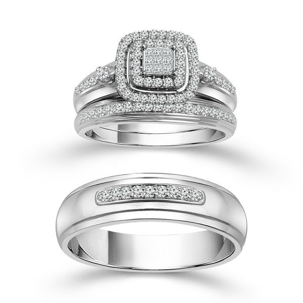 10k White Gold 0.50ctw Diamond Trio Wedding Set Robert Irwin Jewelers Memphis, TN