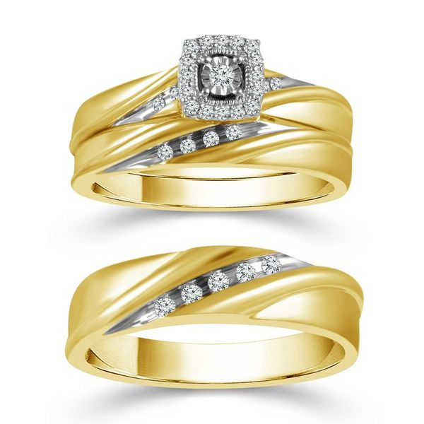 10k Yellow Gold 0.20ctw Diamond Trio Bridal Set. Robert Irwin Jewelers Memphis, TN