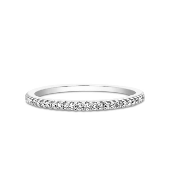 10k White Gold 0.10ctw Prong Set Diamond Stackable Band Robert Irwin Jewelers Memphis, TN