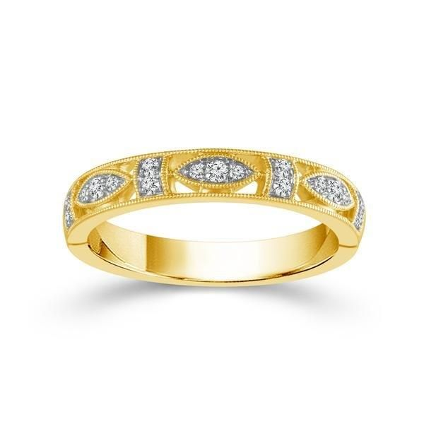 14k Yellow Gold 0.13ctw Diamond Stackable Band Robert Irwin Jewelers Memphis, TN