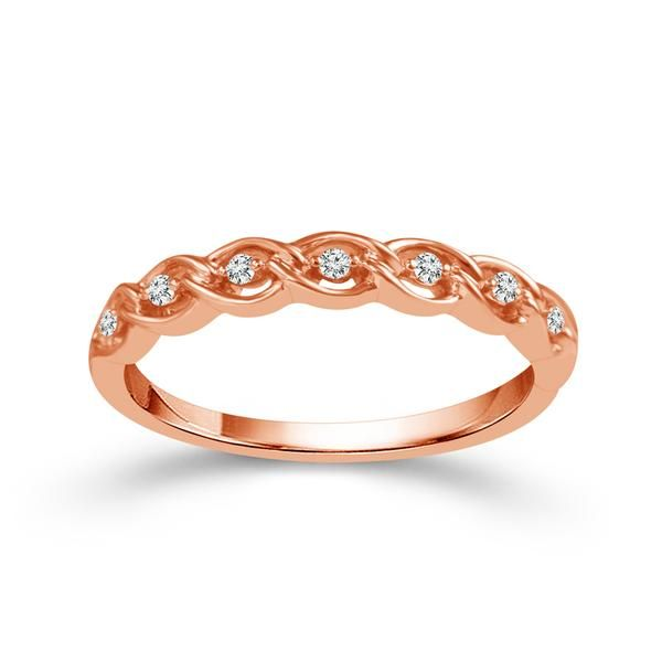 14k Rose Gold 0.06ctw Diamond Stackable Band Robert Irwin Jewelers Memphis, TN