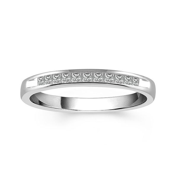 14k White Gold 1.00ctw 11 Diamond Princess Cut Channel Set Band Robert Irwin Jewelers Memphis, TN
