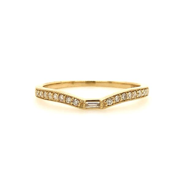 14k Yellow Gold 0.13ctw Round and Baguette Diamond Milgrain Band Robert Irwin Jewelers Memphis, TN