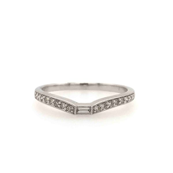 14k White Gold 0.13ctw Round and Baguette Diamond Band Robert Irwin Jewelers Memphis, TN