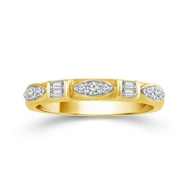 10k Yellow Gold 0.25ctw Round and Baguette Diamond Stackable Band Robert Irwin Jewelers Memphis, TN