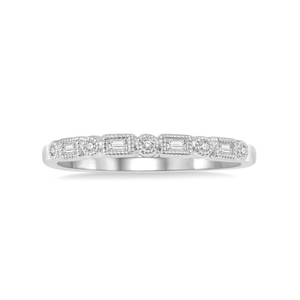 14 Karat White Gold 1/10 Carat Diamond Stackable Band Robert Irwin Jewelers Memphis, TN