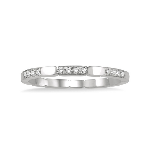 14 Karat White Gold 1/10 Carat Round Cut Diamond Stackable Band Robert Irwin Jewelers Memphis, TN