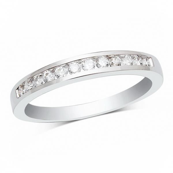 14k White Gold 1/2ctw Diamond Channel Set Wedding Band Robert Irwin Jewelers Memphis, TN