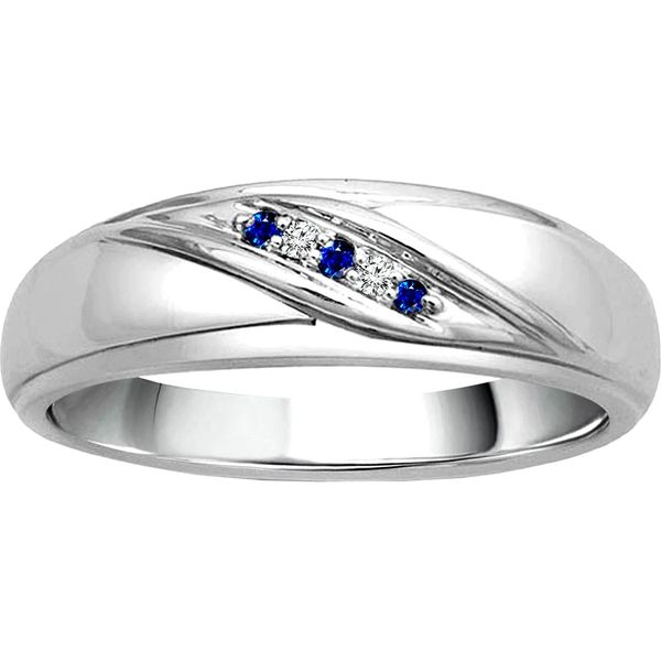 10k White Gold Gents 0.04ctw Diamond and Sapphire Band Robert Irwin Jewelers Memphis, TN
