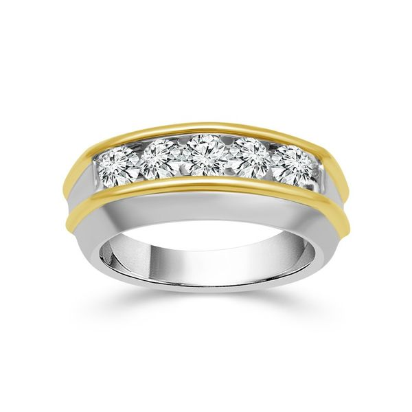 14k Two Tone 1.00ctw 5 Diamond Band Robert Irwin Jewelers Memphis, TN