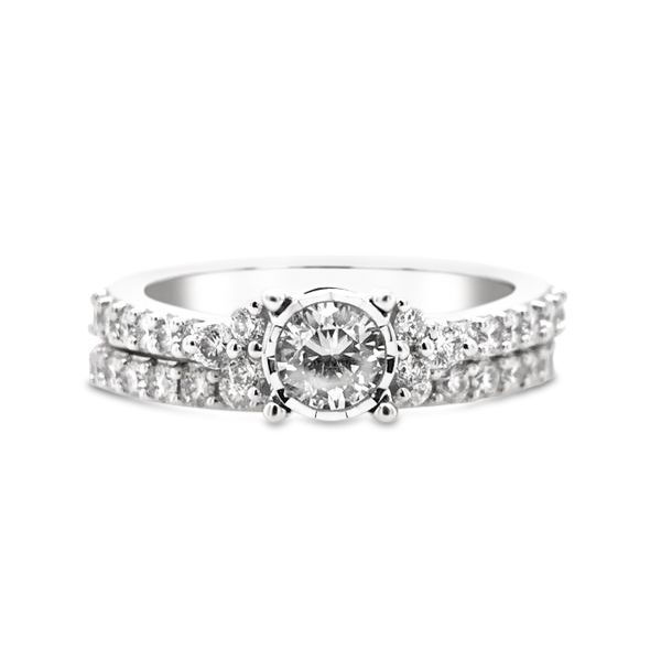 10k White Gold Endless Sparkle 1.00ctw Round Diamond Wedding Set Robert Irwin Jewelers Memphis, TN