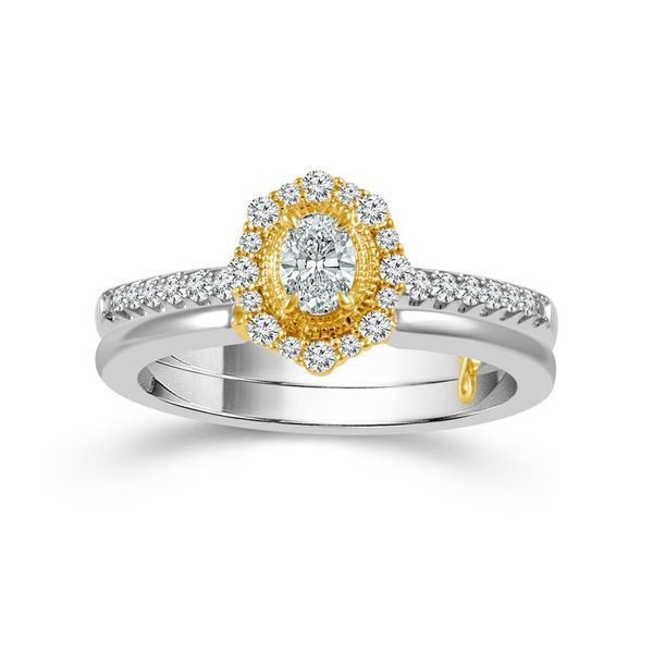 10k Two Tone 0.50ctw Diamond Wedding Set With 0.25ct Oval Center Robert Irwin Jewelers Memphis, TN