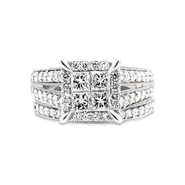 14k White Gold 1.50ctw Princess Cut and Round Diamond Bridal Set Robert Irwin Jewelers Memphis, TN