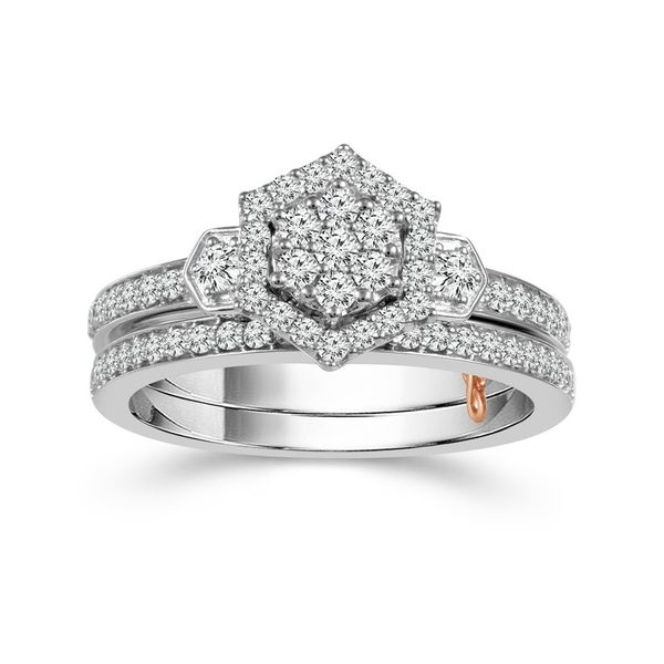 10k White Gold 0.63ctw Diamond Octagon Halo Wedding Set Robert Irwin Jewelers Memphis, TN