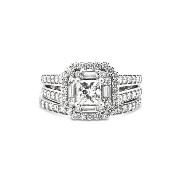 14k White Gold 1.25ctw Diamond Bridal Set (.50ctw Princess Cut Center) Robert Irwin Jewelers Memphis, TN