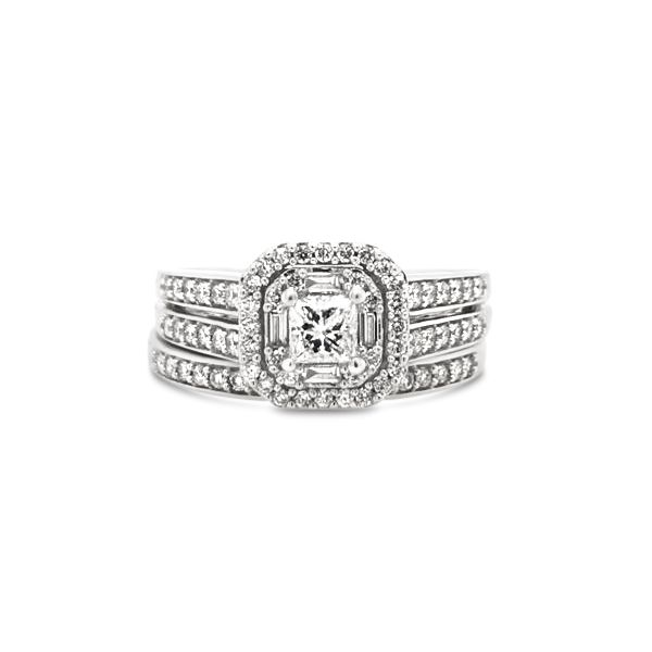 10k White Gold .75ctw Wedding Set With Princess Cut Center Robert Irwin Jewelers Memphis, TN