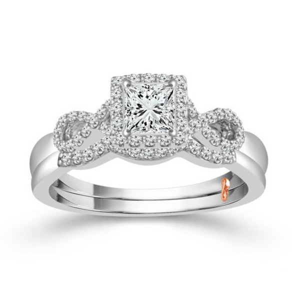 10k Two Tone 0.63ctw Diamond Wedding Set With 0.33ct Princess Cut Center Diamond Robert Irwin Jewelers Memphis, TN