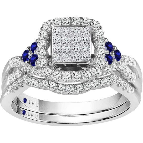 10k White Gold 0.90ctw Diamond and Sapphire Wedding Set Robert Irwin Jewelers Memphis, TN