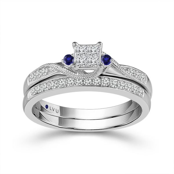 10k White Gold 0.33ctw Diamond and Sapphire Wedding Set Robert Irwin Jewelers Memphis, TN