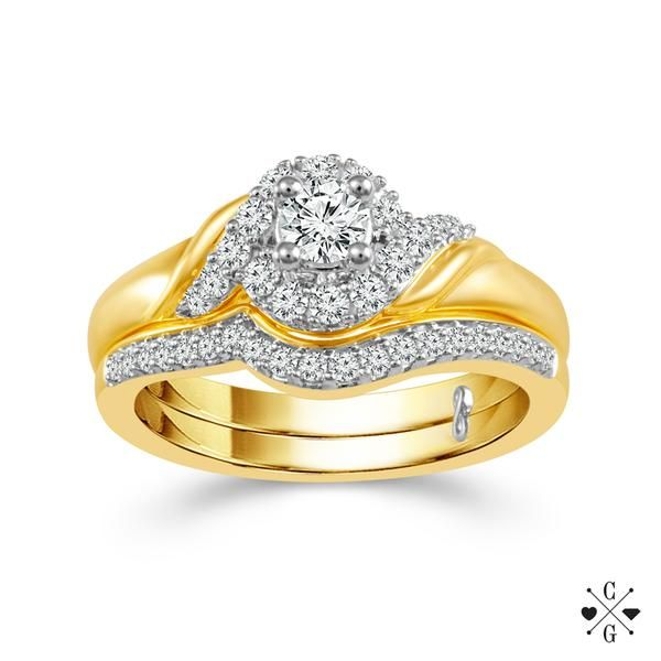 10k Yellow Gold 0.50ctw Wedding Set With 0.20ct Round Center Diamond Robert Irwin Jewelers Memphis, TN