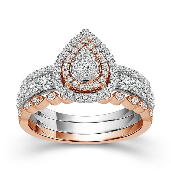 10k Two Tone 0.86ctw 3 Piece Pear Shape Double Halo Wedding Set Robert Irwin Jewelers Memphis, TN
