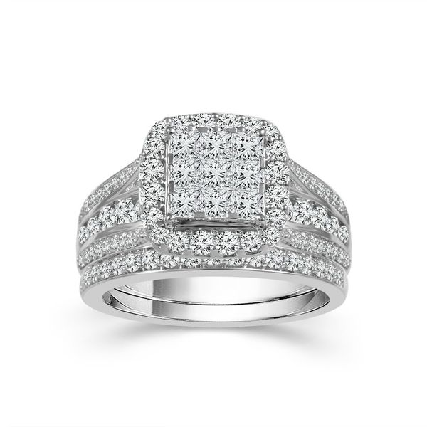 1.50ctw Diamond Halo Wedding Set Robert Irwin Jewelers Memphis, TN