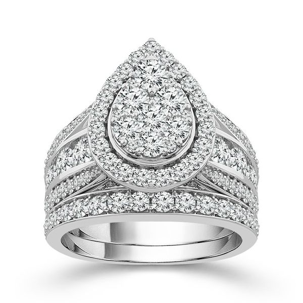 3 Carat Pear Shape Halo Diamond Cluster Wedding Set Robert Irwin Jewelers Memphis, TN