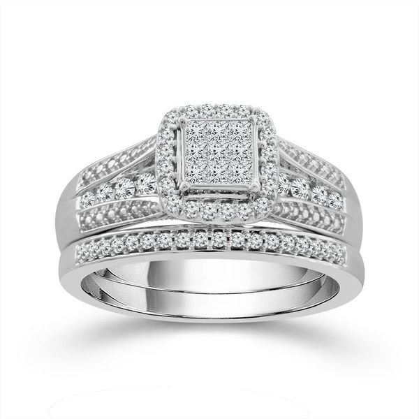 10k White Gold 1/2ctw Princess and Round Diamond Halo Wedding Set Robert Irwin Jewelers Memphis, TN