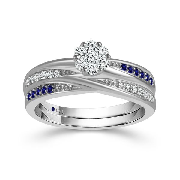 10k White Gold 0.33ctw Diamond and Sapphire Flower Wedding Set Robert Irwin Jewelers Memphis, TN