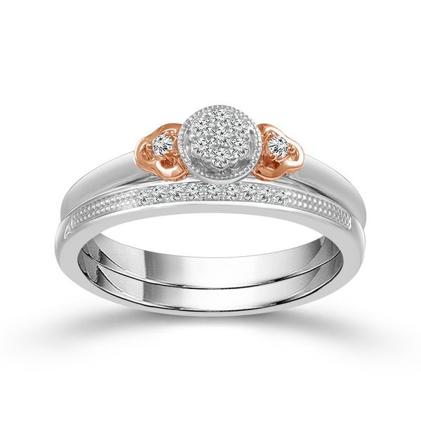 1/8 Carat True Promise Wedding Set with rose gold accents Robert Irwin Jewelers Memphis, TN