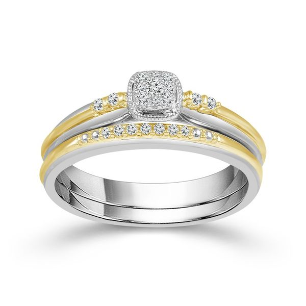 1/8 Carat True Promise Wedding Set with yellow gold accents Robert Irwin Jewelers Memphis, TN