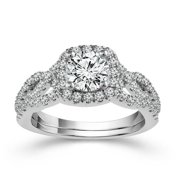 14 Karat White Gold 2 Carat Cushion Halo Diamond Wedding Set Robert Irwin Jewelers Memphis, TN