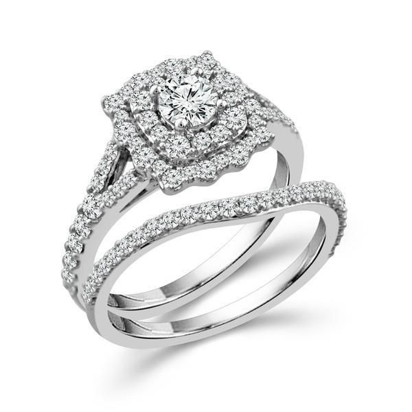 14k White Gold 1 1/4 Carat Double Halo Diamond Wedding Set Robert Irwin Jewelers Memphis, TN