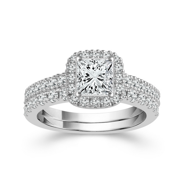 14 Karat White Gold 2 1/4 Carat Diamond Halo Wedding Set Robert Irwin Jewelers Memphis, TN