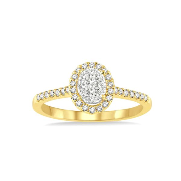 14k Yellow Gold 1/2ctw Oval Halo Diamond Cluster Ring Robert Irwin Jewelers Memphis, TN