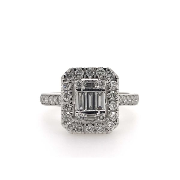 14k White Gold .50ctw Baguette and Round Diamond Fashion Ring Robert Irwin Jewelers Memphis, TN