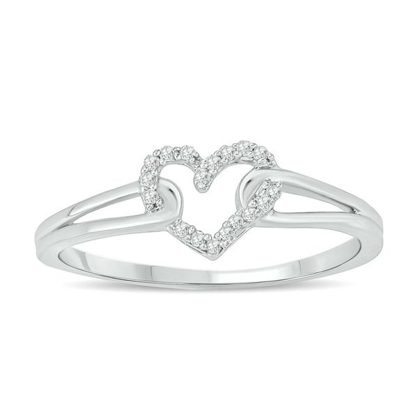 10k White Gold 0.05ctw Diamond Heart Ring Robert Irwin Jewelers Memphis, TN