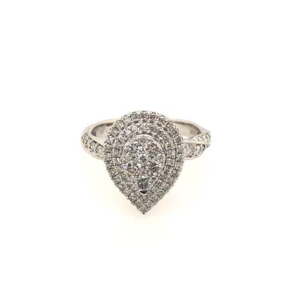 14k White Gold 1.00ctw Diamond Pear Cluster Fashion Ring Robert Irwin Jewelers Memphis, TN