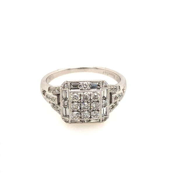 14k White Gold 0.81ctw Round and Baguette Diamond Square Halo Cluster Ring Robert Irwin Jewelers Memphis, TN