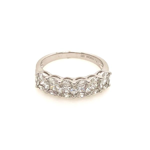 14k White Gold 1.15ctw Marquise and Princess Cut Diamond Band Robert Irwin Jewelers Memphis, TN