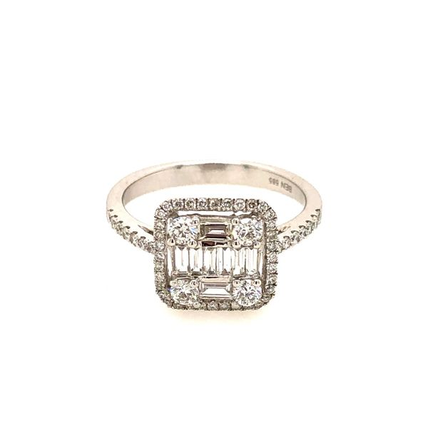 14k White Gold 0.75ctw Baguette and Round Diamond Ring Robert Irwin Jewelers Memphis, TN