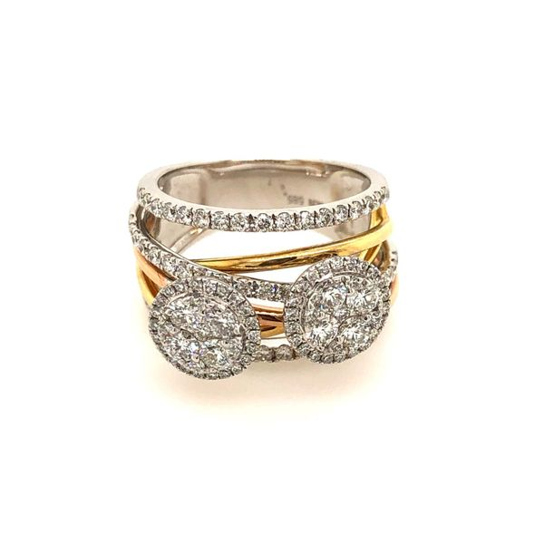 14k Two Tone Gold 1.35ctw Diamond Double Circle Halo Fashion Ring Robert Irwin Jewelers Memphis, TN