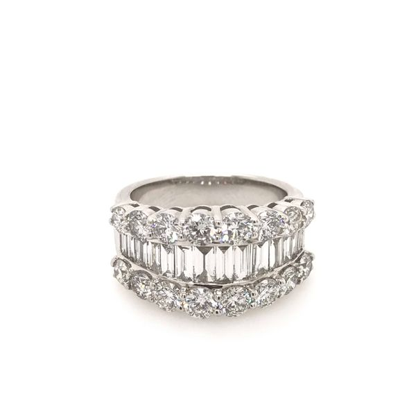 14k White Gold 3.15ctw Round and Baguette Diamond Fashion Band Image 2 Robert Irwin Jewelers Memphis, TN