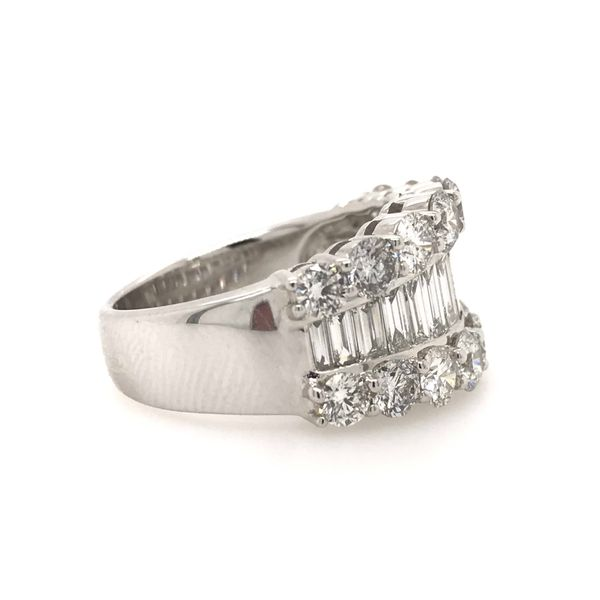 14k White Gold 3.15ctw Round and Baguette Diamond Fashion Band Image 3 Robert Irwin Jewelers Memphis, TN
