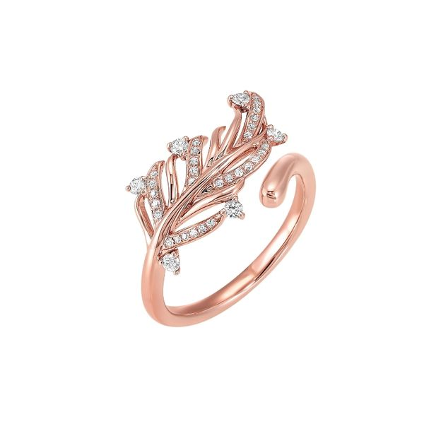 14k Rose Gold 1/5ctw Diamond Leaf Ring Robert Irwin Jewelers Memphis, TN