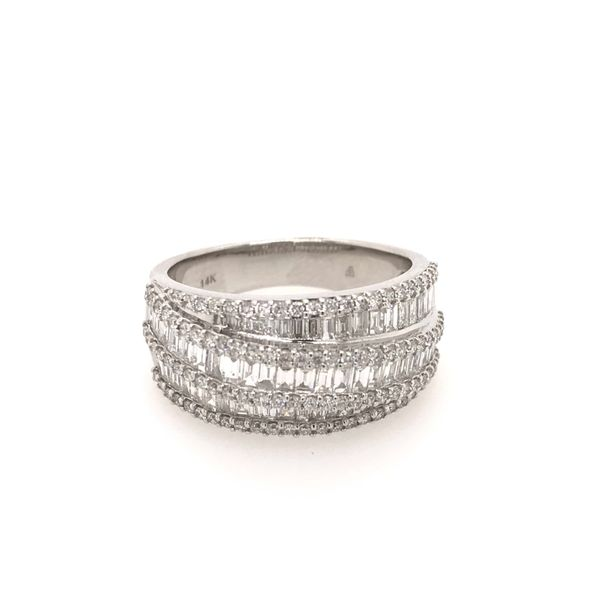 14k White Gold 1.30ctw Round and Baguette Diamond Fashion Band Image 2 Robert Irwin Jewelers Memphis, TN