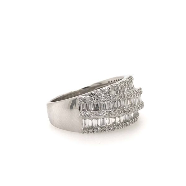 14k White Gold 1.30ctw Round and Baguette Diamond Fashion Band Image 3 Robert Irwin Jewelers Memphis, TN