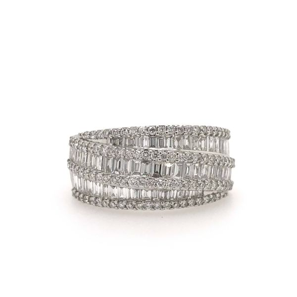 14k White Gold 1.30ctw Round and Baguette Diamond Fashion Band Robert Irwin Jewelers Memphis, TN