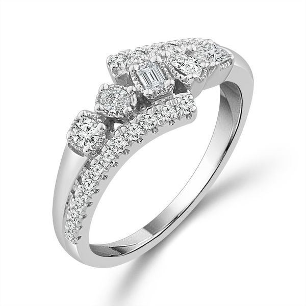 10k White Gold 1/2ctw Multi Fancy Shaped Diamond Fashion Ring Image 2 Robert Irwin Jewelers Memphis, TN
