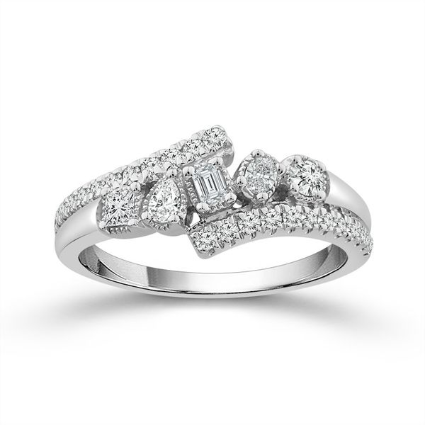10k White Gold 1/2ctw Multi Fancy Shaped Diamond Fashion Ring Robert Irwin Jewelers Memphis, TN